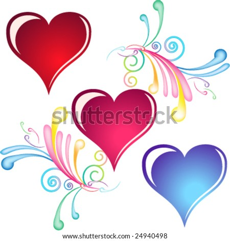 Swirl and heart decorative elements - stock vector