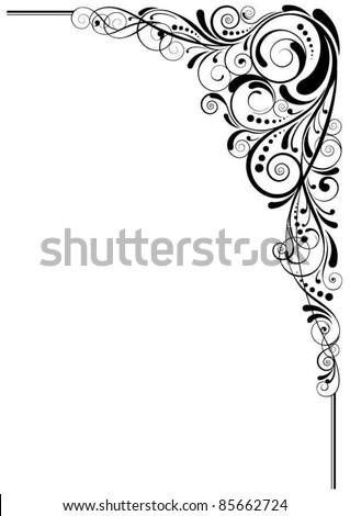 Swirl black angle design - stock vector