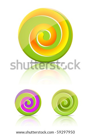 swirl candy.  lollipop set isolated on white background - stock vector