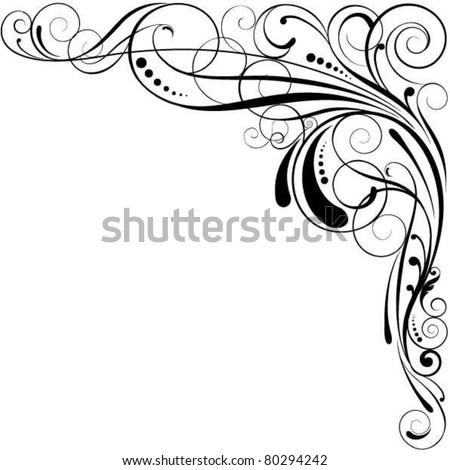 Swirl corner design - stock vector