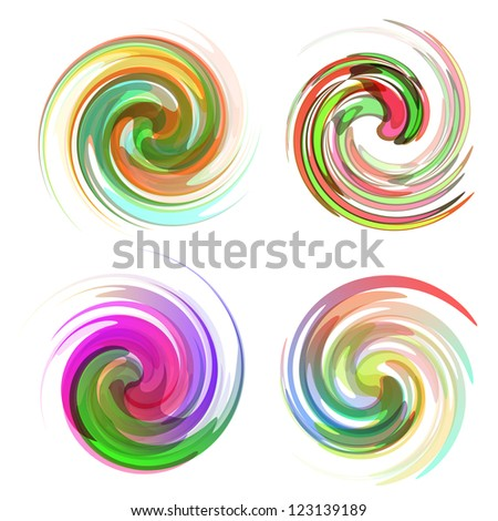 Swirl element set. Abstract illustration.