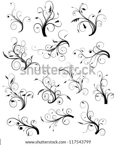 Swirl Floral Collection - stock vector
