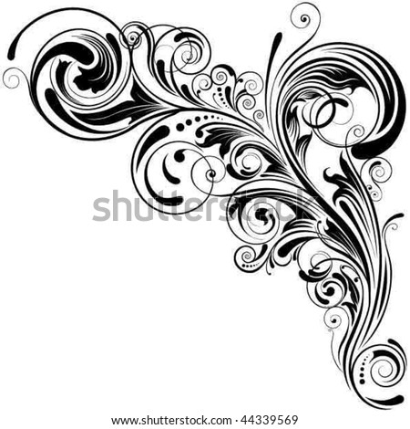 Swirl floral design - stock vector