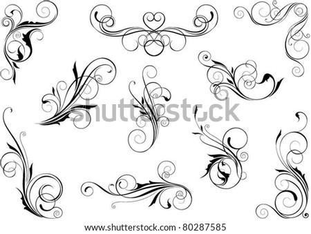 Swirl floral set - stock vector