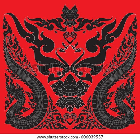 swirl floral tribal naga phoenix heart stock vector 606039557 shutterstock. Black Bedroom Furniture Sets. Home Design Ideas