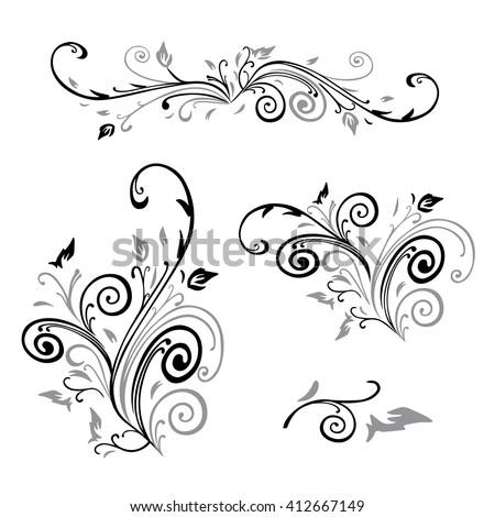swirl flower - stock vector