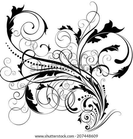 Swirl leaf black design - stock vector