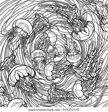 Swirl of jellyfish drawn in line art style. Ocean card in black and white colors. Coloring book page design for adults and kids - stock vector