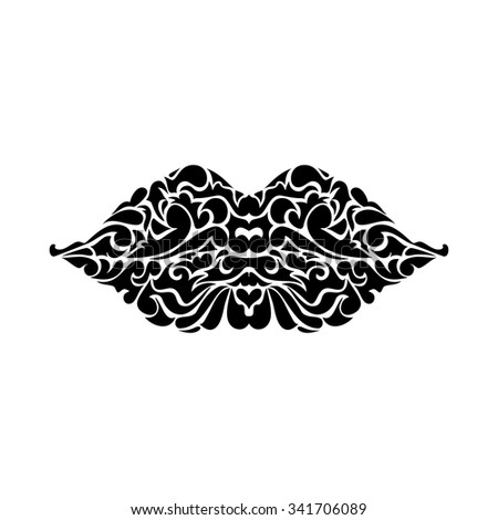 swirl ornate collection -  decorative lips - stock vector