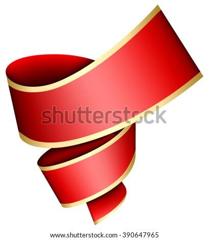 Swirl red ribbon - stock vector