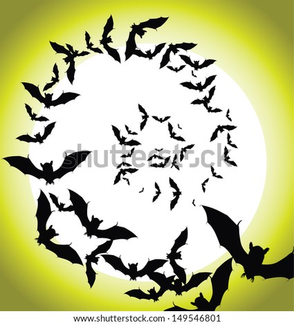 Swirling flock of bats. EPS 10 vector, grouped for easy editing. No open shapes or paths. - stock vector
