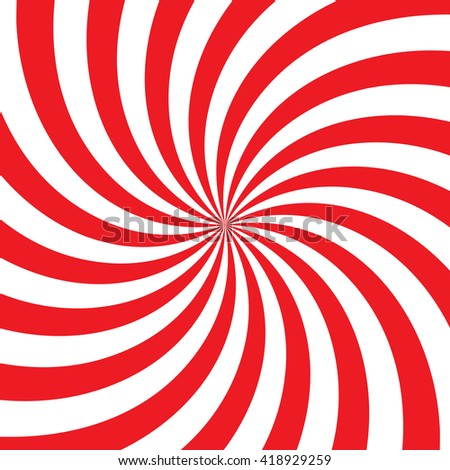 Swirling radial vortex background. White and red stripes swirling around the center of the square. Vector illustration in EPS8 format. - stock vector