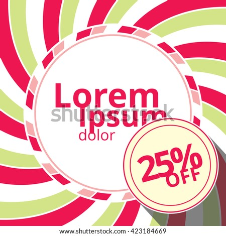 Swirling radial vortex template with discount badge. White, pink and green stripes swirling around blank circle in the square background. Vector illustration in EPS10 format. - stock vector