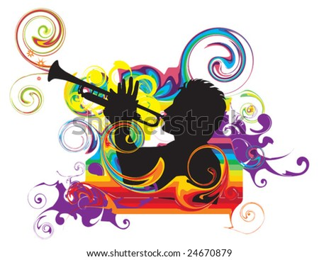 Swirling rainbow illustration with trumpeter - stock vector