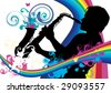 Swirling sainbow illustration with saxophonist - stock vector