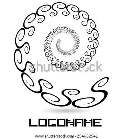 Swirls in Spiral Form for Logo or Business Design. Vector Illustration.  - stock vector