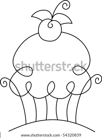 Swirly cupcake with a cherry on top - stock vector