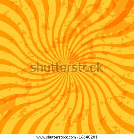 swirly, grungy sunburst background - stock vector