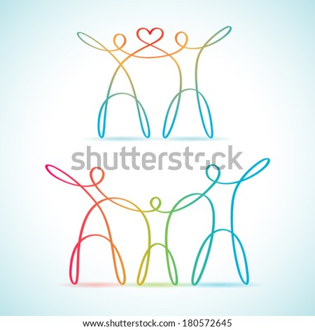 Swirly line figures together - stock vector