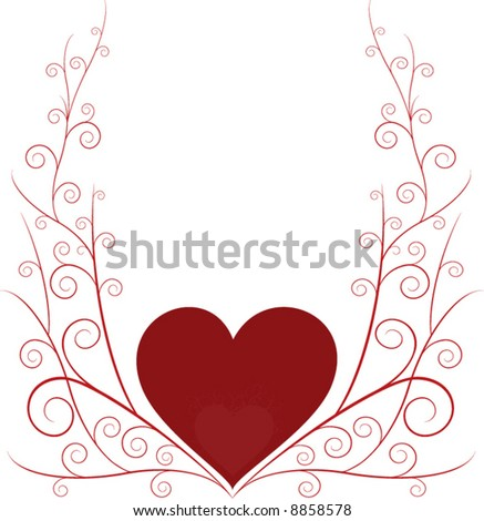 swirly lines with heart - stock vector