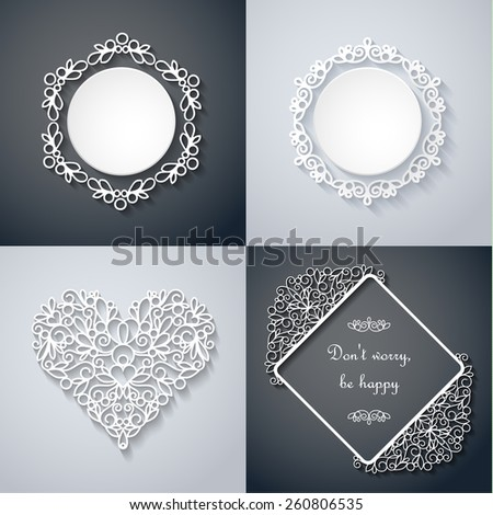 Swirly paper decor with shadow on gray, vector set - stock vector