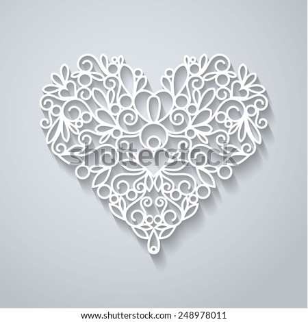 Swirly paper heart with shadow on white, vector illustration - stock vector