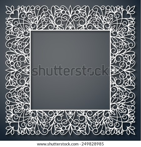 Swirly paper square decor with shadow on black, vector illustration - stock vector