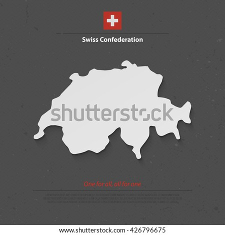 Swiss Confederation map and official flag over grunge background. vector Switzerland political map 3d illustration. European State geographic banner template. travel and business concept map - stock vector