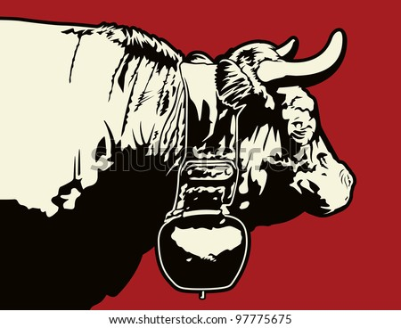 Swiss Cow Graphic. This is a vector graphic of a cow I met while in Switzerland. This file was saved in an .eps 10 format, and uses no gradients or transparencies. - stock vector