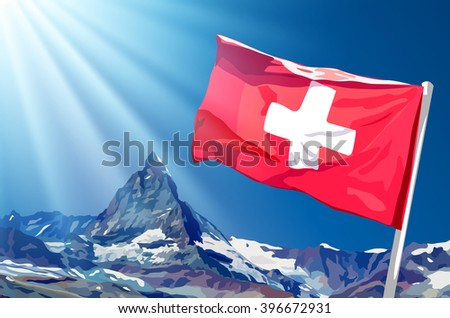 Swiss flag on blue sky and mountains background with sunlight - stock vector