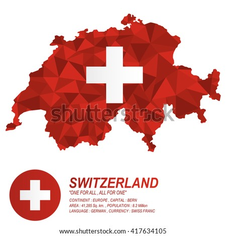 Swiss flag overlay on Swiss map with polygonal style.(EPS10 art vector)