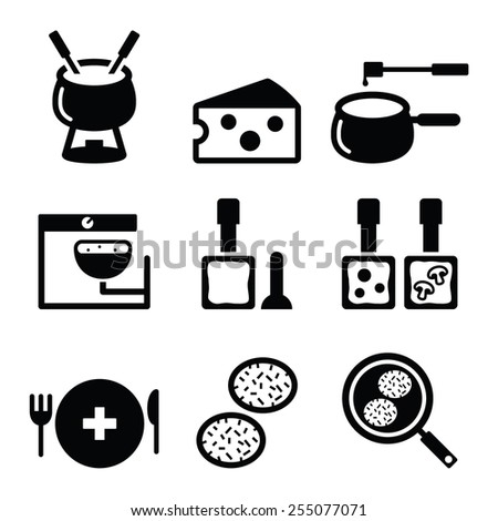 Swiss food and dishes icons - fondue, raclette, r�¶sti, cheese  - stock vector