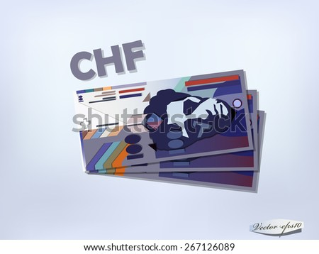 swiss franc money paper design - stock vector
