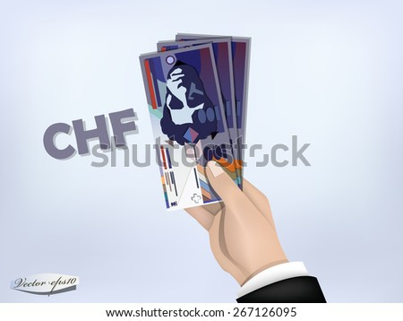 swiss franc money paper on hand,cash on hand - stock vector