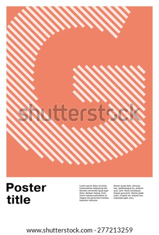 Swiss poster layout with letter G - stock vector