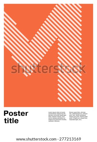 Swiss poster layout with letter M - stock vector