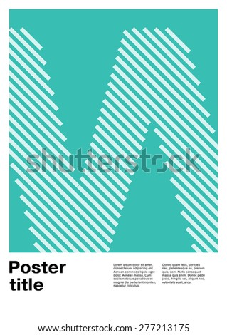 Swiss poster layout with letter W - stock vector
