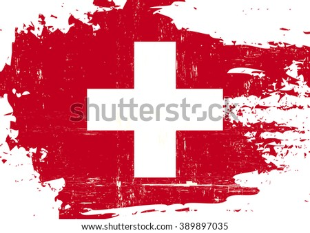 Swiss scratched Flag. A swiss flag with a grunge texture - stock vector