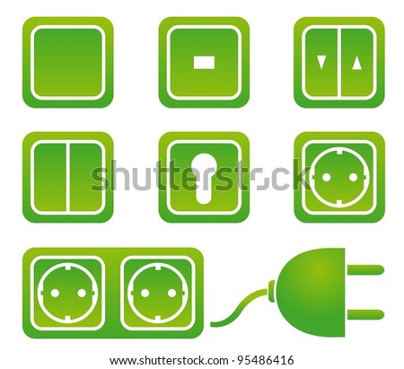 switches an sockets - stock vector