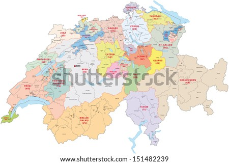 switzerland administrative map - stock vector