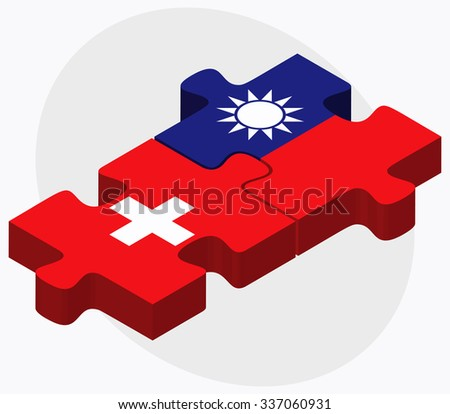 Switzerland and Taiwan Flags in puzzle isolated on white background - stock vector