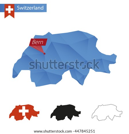 Switzerland blue Low Poly map with capital Bern, versions with flag, black and outline. Vector Illustration. - stock vector