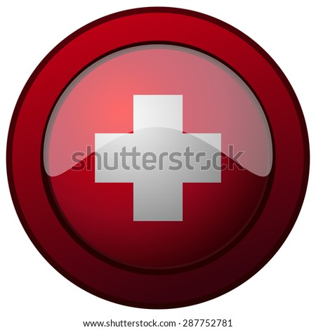 Switzerland Flag on a Red Round Glossy Shield, Vector Illustration.
