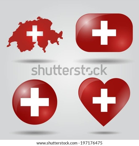 Switzerland flag set in map, oval, circular and heart shape. - stock vector