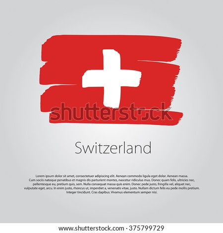 Switzerland Flag with colored hand drawn lines in Vector Format - stock vector