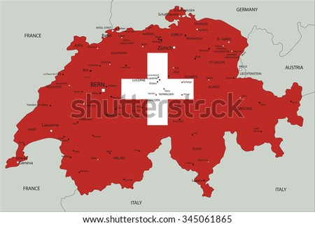 Switzerland highly detailed political map with national flag.