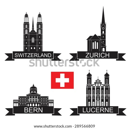 Switzerland landmarks. Vector. Silhouette. Icon. Sign. Set