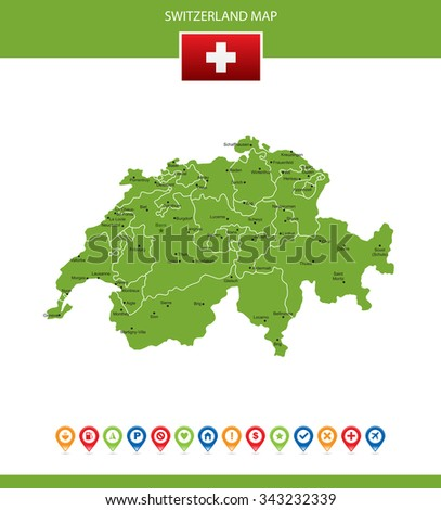 Switzerland Map - stock vector