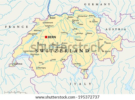 switzerland political map with capital bern national borders most important cities rivers and