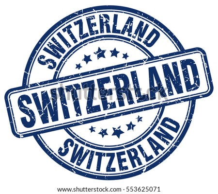 Switzerland. stamp. blue round grunge vintage Switzerland sign